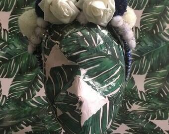 Navy and white rose & pom pom headpiece