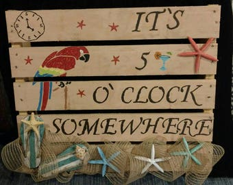 5 o'clock somewhere painted pallet