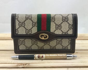 GUCCI Extremely Rare Vintage 1980s Parfums Wallet Web Stripes