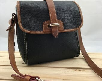 DOONEY & BOURKE Pebbled Leather Black and Tan Crossbody Bag