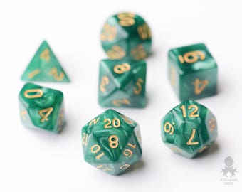 Green Dice - Dungeons and Dragons - Pathfinder - Green Pearl Dice With Gold Number (KD0018)