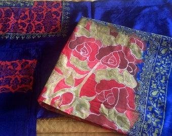 Hand made pure silk 3-piecesuit and block printing