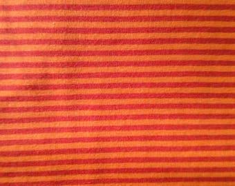 Orange/red striped jersey knit fabric, orange red striped cotton lycra fabric, striped jersey, striped knit fabric, 4 way stretch fabric