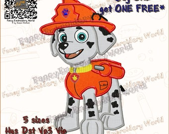 PAW Patrol Marshall applique embroidery design, machine embroidery,embroidery designs. Instant download, 5 sizes, 8 formats #2030-3