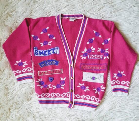 Vintage 80s kawaii girly princess sweater cardigan size small.