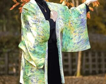 Lime green Haori coat, Japanese kimono, womens haori