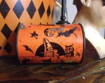 Vintage US Metal MFg Co. Halloween Toy Tin and Wood Noise Maker Halloween Decoration Party Favor Pumpkins Witch Owl Cats Bats Orange Black