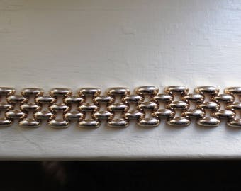 "Vintage ""Tropic"" Danish Brand  Wide Link  Bracelet Light Gold Tone Metal Makers Mark B and a Crown"