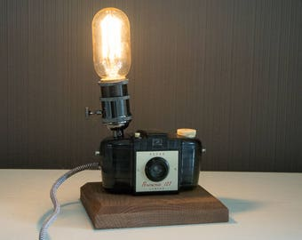 Upcycled Kodak Brownie 127 Camera Lamp - Upcycled Camera Lamp - Edison Lamp - Steampunk Lamp - Upcycled Lamp
