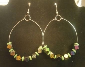 FREE SHIPPING Large silver hoop earrings with iridescent beads, summer style