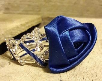 Thin Elastic Headband with Silk Rose