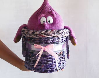 Handmade Home decor Wicker baskets Newspaper basket Handmade basket  Wicker Basket Round basket Small basket Housewarming gift