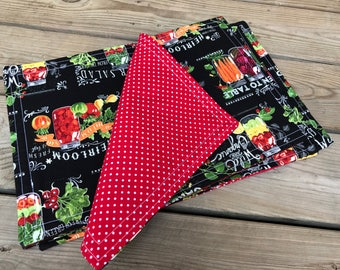Place mats, garden home decor, black and red, farmhouse