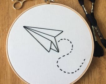paper plane embroidery hoop