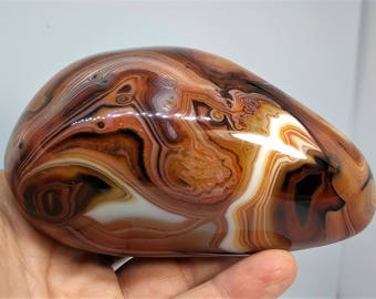 Extra-Large Red, Orange, and Gold Banded Madagascar Agate, 611g (NF369)