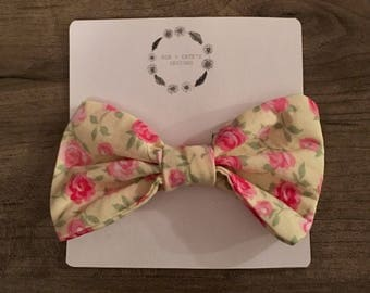 Yellow Floral Print Bow