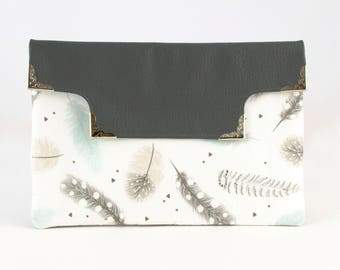 Limited Addition Bohemian Feather and Grey Vegan Leather Cut Out Clutch. Fashion Purse. Everyday Purse. Medium Purses. Purses. Grey Purse.
