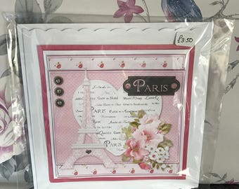 Handmade paris birthday card
