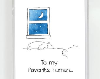 Cat Sleeping On Your Chest Greeting Card