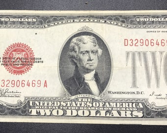 Two Dollar United States Note 1928E red seal  Jefferson