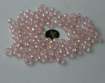 20 beads pink faceted round 8 mm - bracelet necklace jewelry - Bohemian glass