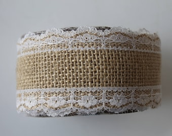 2.90 tape measure burlap white beige lace - width 5 cm