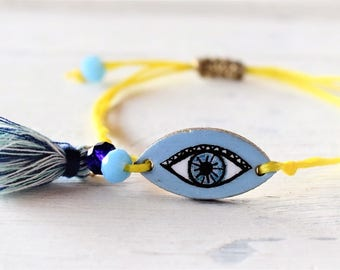 Eye Charm Bracelet Light Blue