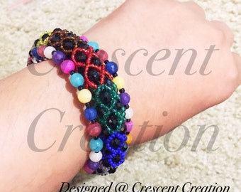 Bithday|Gifts|for|Women Beaded Bracelet - MultiColor Bracelet - Multiple Strand (3 strand) Bracelet - Black with MultiColors Bracelet