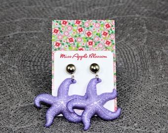 Vintage inspired earrings, pendant earrings purple starfish, 50s, 60s