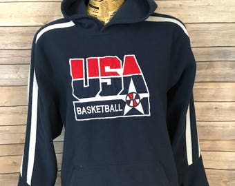 Vintage Nike Team USA Basketball Olympics Hooded Fleece Pullover (L)