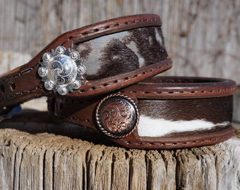 """Leather Dog Collar w/ Hair-On Cowhide Inlay -Fits 12"""" - 14.5"""" neck"""