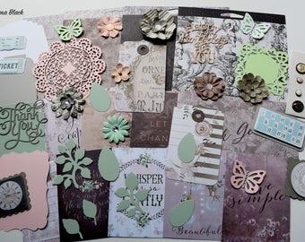 Prima Salvage District Scrapbook Paper and Embellishment Kit, Inspiration kit, Monochromatic palette Kit, Scrapbooking Kit,  Cardmaking kit,