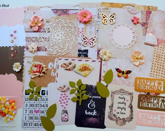 Prima Love Clippings Scrapbook Paper and Embellishment Kit, Inspiration kit, Wedding Kit, Anniversary kit, Scrapbooking Kit,  Cardmaking kit