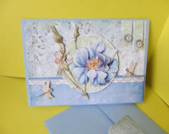 Flower and Butterfly are hand made 3D card