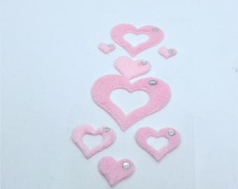 Santa Claus stickers 8 stuffed hearts in pink rhinestones 55x108mm effect