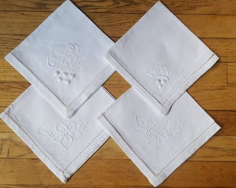 Mix matched white linen embroidered vintage cloth napkins set of 4