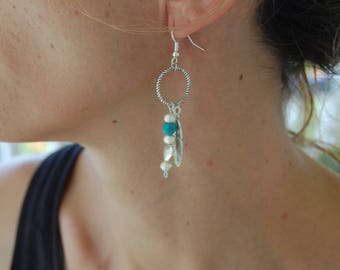 Feather earrings, turquoise, heart, silver, nickel free