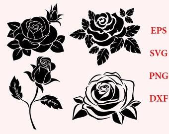 Rose svg, rose silhouette, rose clipart - rose blossom clip art vector digital download svg, eps, dxf, png, flowers svg, t-shirts files, svg