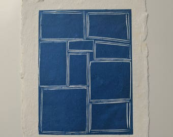 "Handmade rag paper - Lino print ""Blue Abstract"""