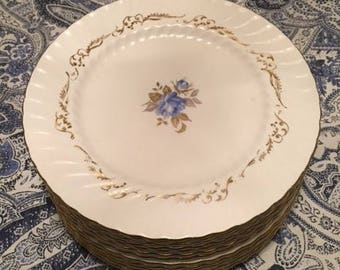 Aynsley Dinner Plates x12 Blue Floral Center Swirl Edge Made in England