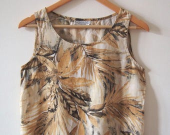 Vintage Jungle Print Tank Top in Lightweight Cotton, Size S