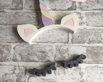 Wall Hanging Decor Unicorn Ears & Horn with Exaggerated Eyelashes, Sleepy Eyes