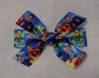 Wiggles Hair Bow - Hair Bow for Girl, Wiggles Bow, Toddler Hair Bow, Pinwheel Hair Bow, Pigtail Hair Bow, Handmade Bow,  Hair Clip for girl
