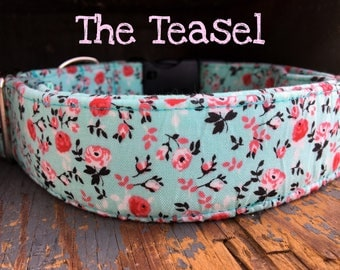 "Summer Floral Turquoise Girl Dog Collar with Little Pink Flowers ""The Teasel"""
