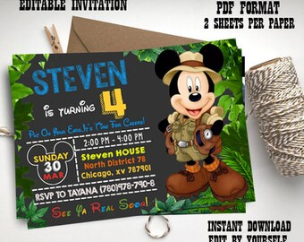 Instant Download-mickey safari invitation, mickey invite, mickey mouse invitation, mickey safari editable pdf invitation, kids garden party