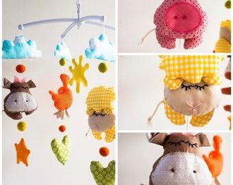 Farm Animals baby Mobile/Farm Yard Baby crib/Farm animals nursery decor/Handing mobile/Baby shower gift/Sun Pig Sheep colorful carousel