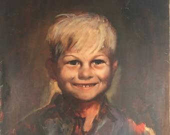 Vintage Photorealism Portrait of a Young Boy / Realistic Portrait Painting