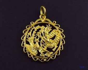 Modern 24k Gold Dragon & Bird Chasing Pearl of Wisdom Pendant
