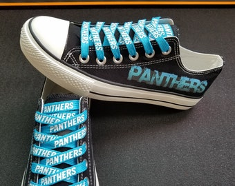 Carolina Panthers shoes black Panthers sneakers Fashion shoelaces canvas shoes