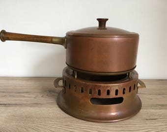 Vintage Fondue Set solid copper and brass Fondue Bourguignonne Set, high italian quality signed Balzano, safe and stable, never used.